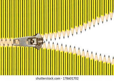 Pencils with different length in upper and lower sides of white background forming zip effect with zipper