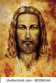 pencils drawing of Jesus on vintage paper. with ornament on clothing. Old sepia structure paper. Eye contact. Spiritual concept.