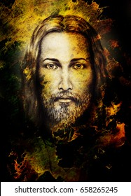 Pencils drawing of Jesus on vintage paper and color structure. Eye contact.