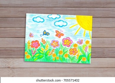 """Pencils drawing """"Summer flowers and butterflies"""" on wooden panels background, colorful  wallpaper"""