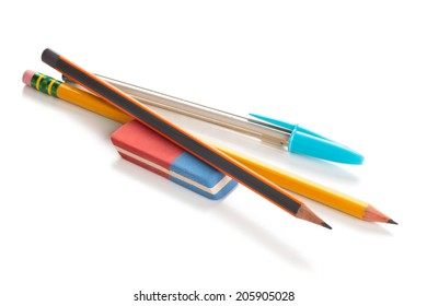 Pencils and eraser. Isolated on white background.