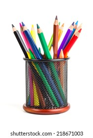 pencils in holder isolated on white