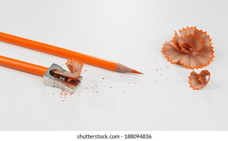 Pencils and pencil shavings, isolated on white