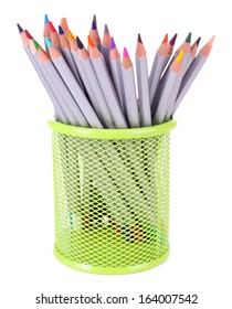 Pencils in stand isolated on white