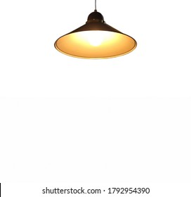 Pendant light with bright light bulb hanging from above (isolated on white background, with copy space for presentation)