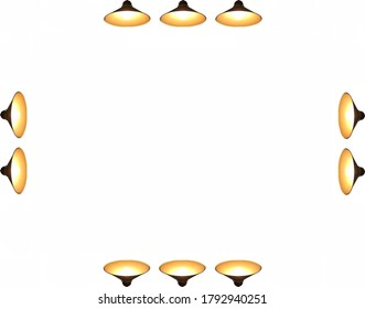 Pendant lights with bright light bulbs on all sides (isolated on white background, presentation template with copy space)