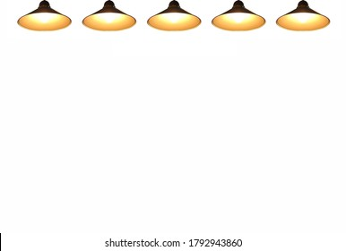 Pendant lights with bright light bulbs (isolated on white background, presentation template with copy space)