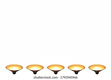 Pendant lights with bright light bulbs from below (isolated on white background, presentation template with copy space)