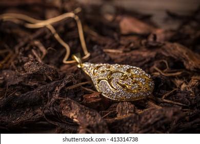 Pendant with rihnestone, jewellery concept