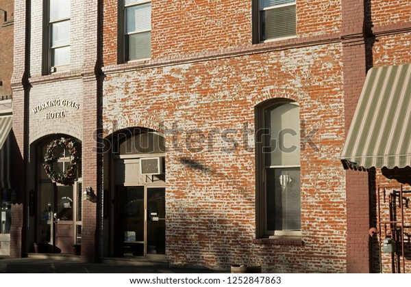 Pendleton, Oregon / USA - 1/3/2018. The Working Girls Hotel is the home of the Pendleton Underground Tours, which are a local attraction where a guide leads groups into passages under the city.