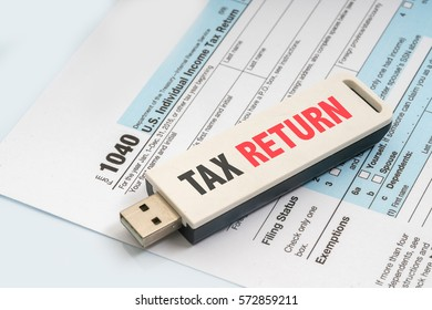 pendrive with text and tax form