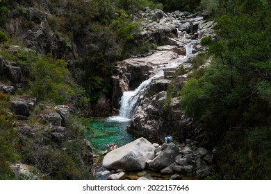 Peneda Geres National Park, Portugal - June 13, 2019: View of the beautiful Portela do Homem Watterfall, a famous site for tourists at the Peneda Geres National Park, in Portugal.