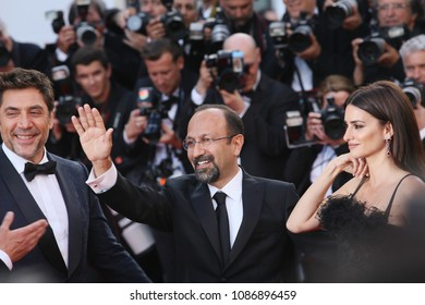 Penelope Cruz, Javier Bardem, director Asghar Farhadi  attend the opening gala during the 71st annual Cannes Film Festival at Palais des Festivals on May 8, 2018 in Cannes, France