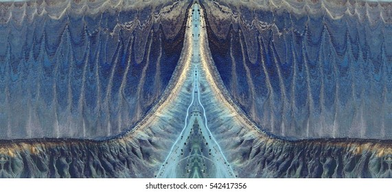 penetration,Tribute to Dalí, abstract symmetrical photograph of the deserts of Africa from the air, aerial view, abstract expressionism, mirror effect, symmetry,kaleidoscopic photo,