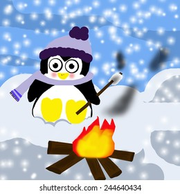 Penguin by the fire