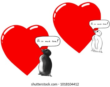 penguin heart love