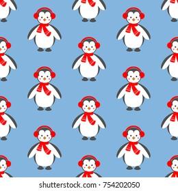 Penguin pattern on the blue background.  illustration