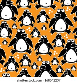 penguins cute seamless pattern