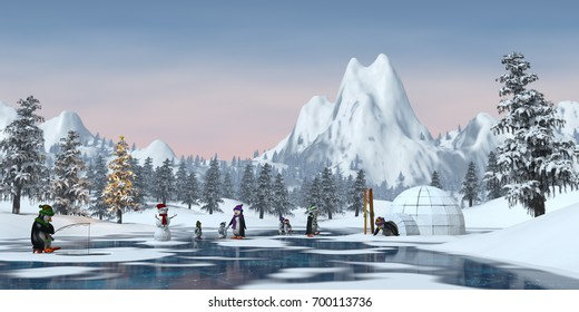 Penguins on a frozen lake in a snowy Christmas mountain landscape. A 3d render.