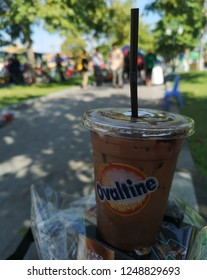 PHNOM​ PENH, CAMBODIA​ -​ NOVEMBER, 2018​: One​ glass​ of​ iced​ cocao​ or​ chocolate​ milk beverage​ is​ good​ for​ refreshment​ in​ sunny​ day​ on​ the​ November​ 22, 2018​ in​ Phnom​ Penh, Cambodia