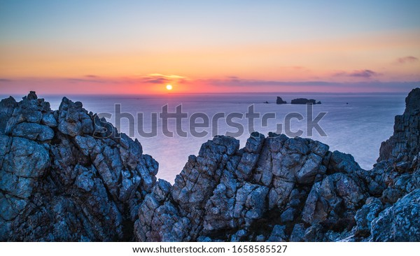 Pen-Hir Cape at sunset in Crozon peninsula, Brittany, France