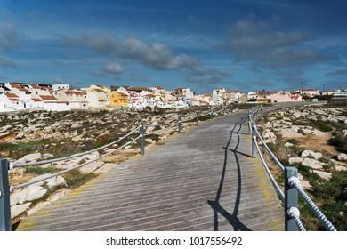 Peniche city buildings at Atlantic ocean coast, Portugal.