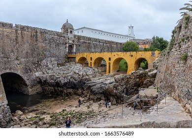 PENICHE , PORTUGAL - JULY 15 , 2019 : The Praça-forte de Peniche, a national monument since 1938, is located in this city, at the southern end of the district of Leiria, in Portugal.