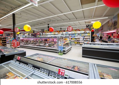 Peniche, Portugal - October 10, 2016: Shelves with goods in a supermarket