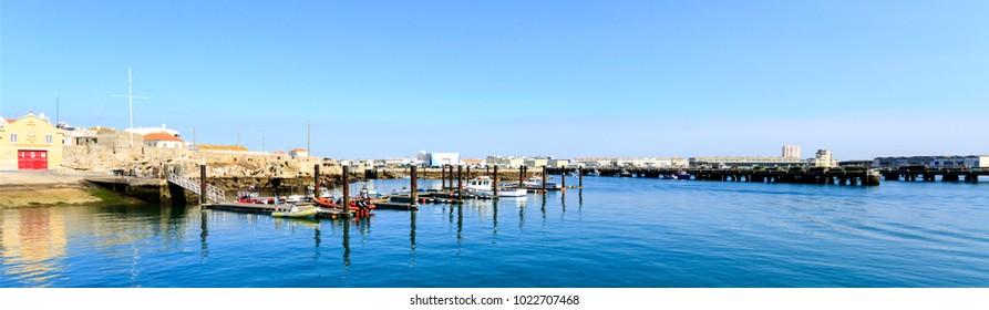 PENICHE, PORTUGAL - October 8, 2017: View of the marina belonging to the Portuguese Lifesaving Institute (Instituto de Socorros a Naufragos in Portugurse) in the harbour of Peniche, Portugal
