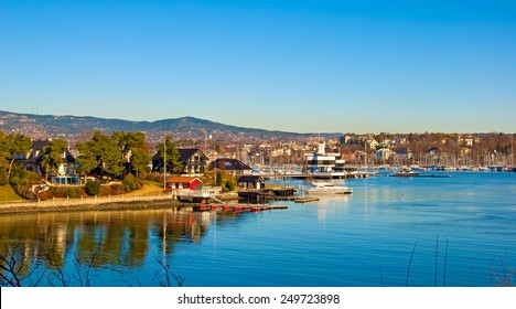 Peninsula Bygdoy in Oslo. Norway. Houses and yachts