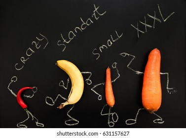 Penis Phallus Chart Shape Size Crazy Standard Small XXXL Satisfaction Illustration Concept