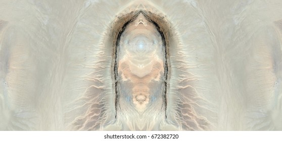 Penis, phalocracy , machismo, Tribute to Dalí, abstract symmetrical photograph of the deserts of Africa from the air, aerial view, abstract expressionism, mirror effect, symmetry, kaleidoscopic