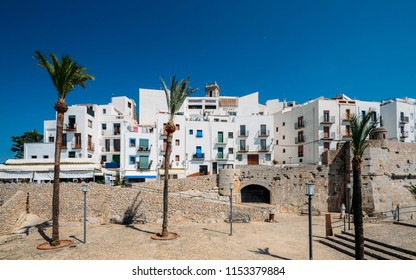 Peniscola, Spain - July 12, 2018: Peniscola, Castellon, Spain, a 13th-century courtyard and Citadel with a Templar castle, offering panoramic views of the Valencian coast. Setting of famous films and