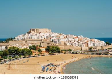 Peniscola, Spain- July 25, 2018: Peniscola castle, top view. Costa del Azahar, province of Castellon, Valencian Community