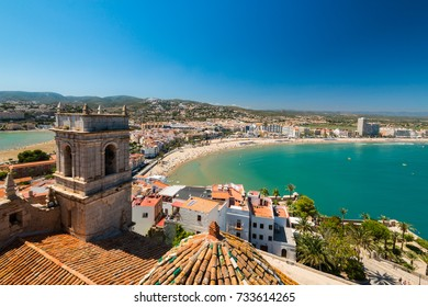 PENISCOLA,SPAIN-AUGUST 14,2017:Aerial Panoramic Skyline View Of Peniscola City Beach Resort At Mediterranean Sea In Spain.