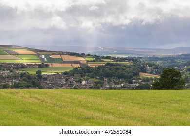 PENISTONE, BARNSLEY, SOUTH YORKSHIRE, ENGLAND, UK - 20 AUGUST 2016: South Yorkshire landscape - view over Penistone, England's highest market town, & distant A628 crossing the Pennines to Manchester