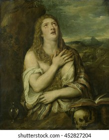 Penitent Mary Magdalene, by Titian, copy of original in El Escorial, c. 1550-80, Italian painting, Mary Magdalene, with tears in her eyes looking up. Before her is an open book lying above a human sk
