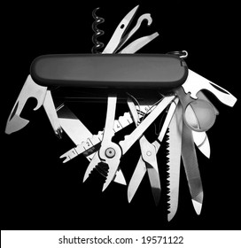 Penknife isolated on black