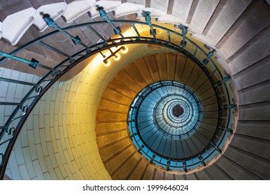 Penmarc'h, Brittany, France - august 11 2017: Spiral staircase inside the Eckmuhl lighthouse