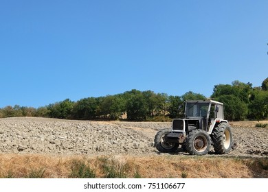 Pennabilli, Italy - August, 30th, 2017. View of tracktor on the field