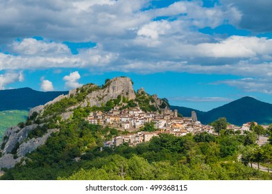 Pennadomo (Italy) - A small town on the rock, in Abruzzo region, Val di Sangro, beside Lake of Bomba