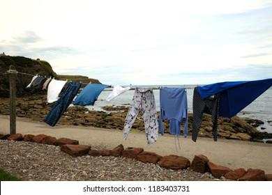 Pennan village (Scotland), UK - August 01, 2018: Loundry drying int Pennan village, Fraserburgh, Scotland, Highlands, United Kingdom