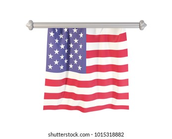 Pennant with flag of united states of america isolated on white. 3D illustration