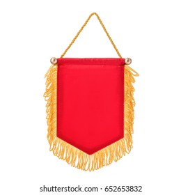 Pennant red with fringe, on isolated white background