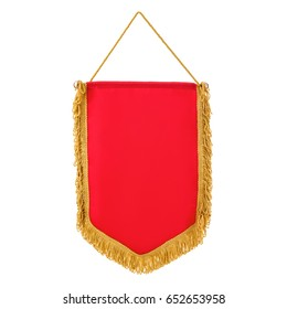 Pennant red with fringe, on isolated white background.