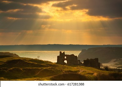 Pennard Castle overlooking Three Cliffs Bay, Gower, Swansea, Wales, UK