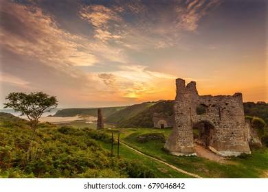 Pennard Castle, overlooking Three Cliffs Bay, Gower, Wales, UK