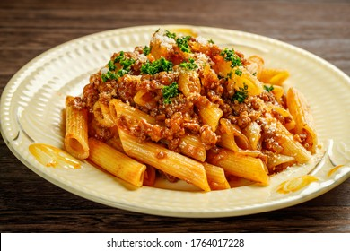 Penne bolognese, meat sauce with penne