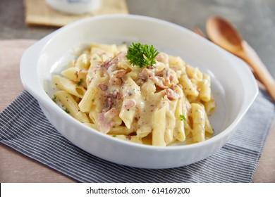 penne carbonara creamy and rich Italain food