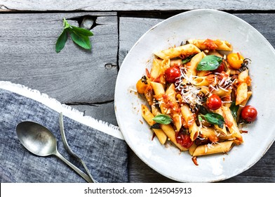 Penne with Homemade Cherry Tomato sauce with Cherry Tomatoes and grated Parmesan
